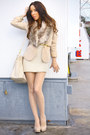 Beige-forever-21-dress-tan-h-m-blazer-nude-h-m-tights-camel-faux-fur-h-m-a