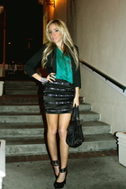 black skirt - green blouse - black jacket - black shoes
