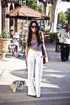 white linen pants - purple f21 top - brown Steve Madden shoes - brown H&M purse