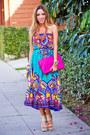 Turquoise-blue-tribal-print-haute-rebellious-dress
