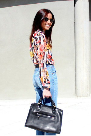 Zara blouse - Levis jeans - Uterque bag - ray-ban sunglasses