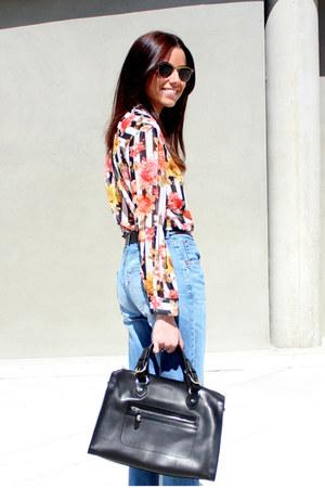 Zara blouse - Levis jeans - Uterque bag - ray-ban sunglasses