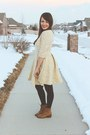 Light-yellow-feminine-lulus-dress-bronze-lace-up-lulus-boots