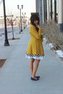 Black-striped-lulus-dress-mustard-peacoat-lulus-coat