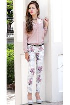 light pink American Eagle blouse - periwinkle American Eagle pants