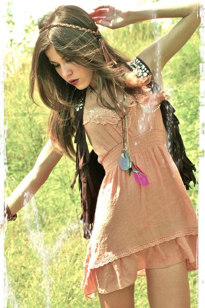 nude Marshalls dress - dark brown Walmart vest - magenta American Eagle necklace