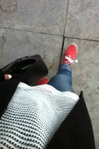 red Deeply sneakers - black Lefties coat - white Primark sweater