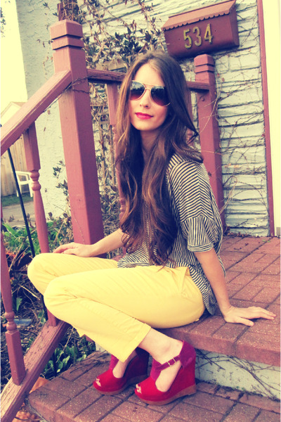 beige Forever 21 sweater - light yellow Target pants - magenta Qupid wedges