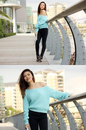light blue Missguided sweater - black Miss Selfridge pants