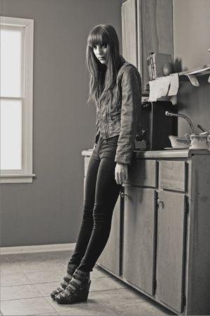 black BDG jeans - gray sam edelman shoes - brown Levis jacket