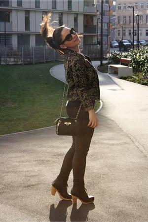 leather Pimkie boots - baroque Stradivarius jacket - black leather DKNY bag