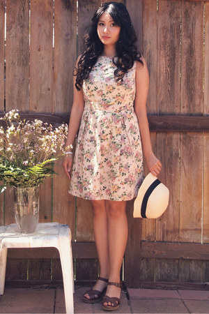 navy Forever 21 hat - beige pink martini dress - dark brown xhilaration wedges