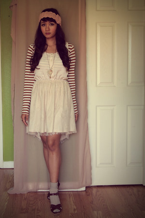 cream lace skirt Bar III dress - tawny striped thrifted shirt