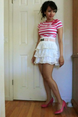 hot pink Sarah& Honey shirt - white lace Better B skirt - hot pink kitten heels