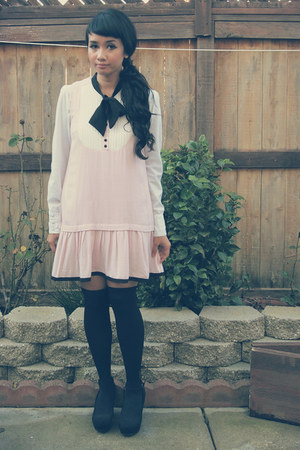 white MAXX blouse - light pink black bow Miss Selfridge dress - black DIY socks