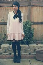 white MAXX blouse - light pink black bow Miss Selfridge dress - black DIY socks