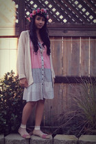 cream knit Roxy cardigan - light pink cotton Wet Seal dress