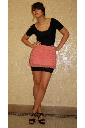 American Apparel dress - Aqua skirt - Colin Stuart shoes - Girl Props earrings