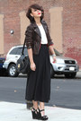 Dark-brown-american-eagle-jacket-black-american-apparel-skirt-off-white-spar