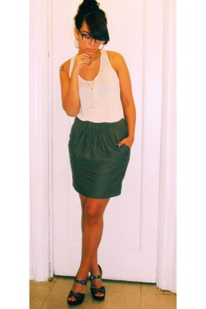 lux uo top - Zara skirt - Report shoes