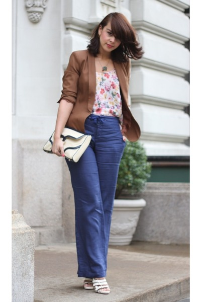 brown Zara blazer - navy linen trousers Zara pants - neutral floral Topshop top