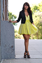 yellow modcloth dress - black Topshop jacket - black Kors by michael  kors shoes