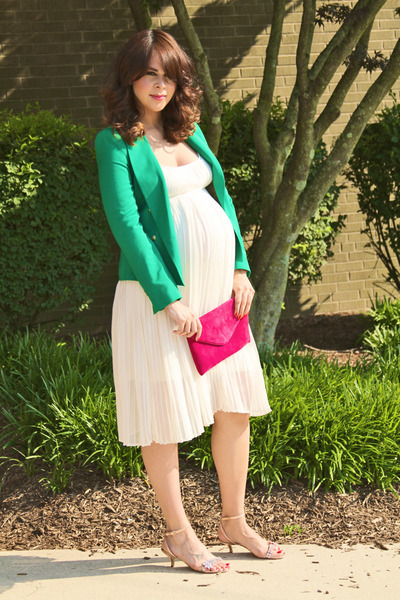 green Zara blazer - white Topshop dress - hot pink Jcrew bag