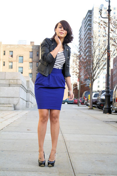 blue wool Topshop skirt - black Aldo shoes - black leather Bebe jacket