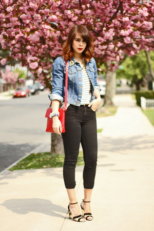 blue denim BDG jacket - black skinny Topshop jeans - red DKNY purse