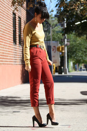 red American Apparel pants - black calvin klein shoes - gold Gap sweater