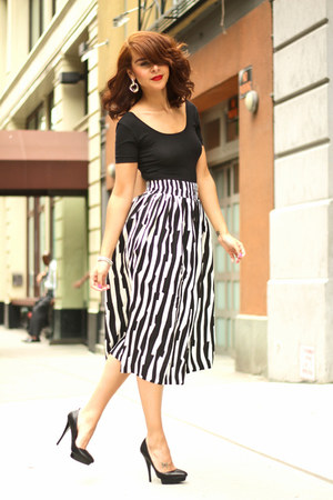 black Charles Jourdan shoes - white asos skirt - black American Apparel top