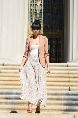 beige blazer Zara jacket - brown Prada shoes - beige Topshop pants