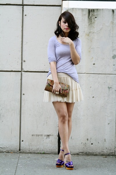 purple Zara t-shirt - beige Aqua skirt - purple Marc Jacobs shoes - brown Topsho