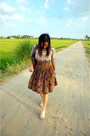 beige thrift blouse - blue thrift skirt