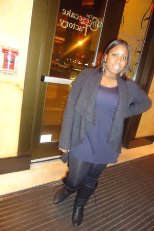 black Wet Seal boots - navy Jcpenny dress - black Charlotte Russe leggings - dar