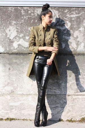 leather jeans jeans - mango coat blazer - little big bun accessories