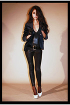 black aa leggings - blue Massimo Dutti blazer - beige Aldo shoes