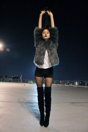 fur Mango jacket - stuart weitzman boots - black mini shorts