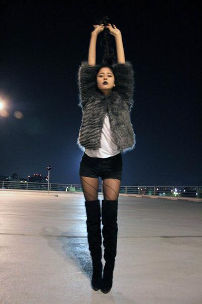 fur Mango jacket - stuart weitzman boots - black mini shorts