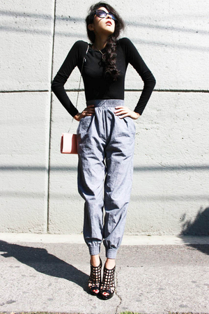 blue American Apparel pants - black Steve Madden shoes