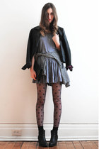 black Call it Spring boots - heather gray American Apparel dress
