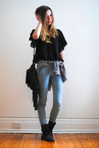 sky blue American Apparel jeans - black Billabong bag