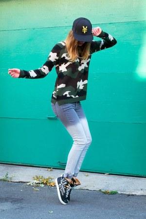 army green Topshop sweater - navy Alexander McQueen Puma sneakers