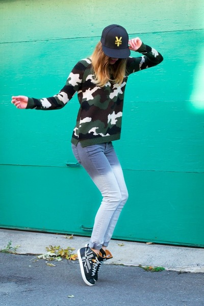 army green Topshop sweater - navy Alexander McQueen Puma sneakers