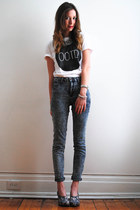 white DentelleFleurs Design t-shirt - jeans - block asos heels - H&M necklace
