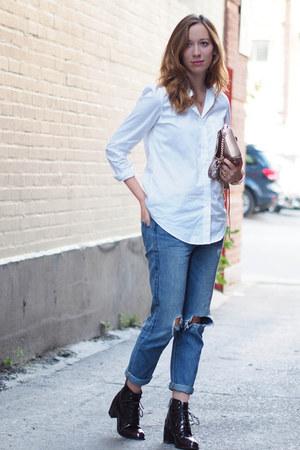 dark brown shiny sam edelman boots - blue Gap jeans - white Joe Fresh shirt