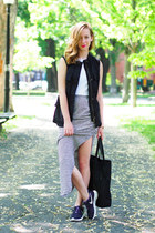 white Sanctuary skirt - white Forever 21 top - black Sanctuary vest