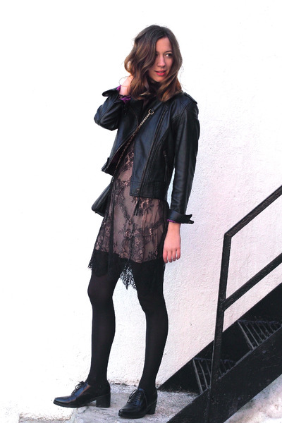 black leather twik jacket - eggshell Front Row Shop dress