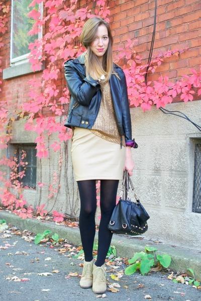 beige leather GoodNight Macaroon skirt - beige joe fresh style wedges