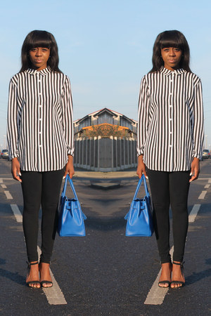 black Topshop leggings - blue Vanilla Paris bag - white H&amp;M top